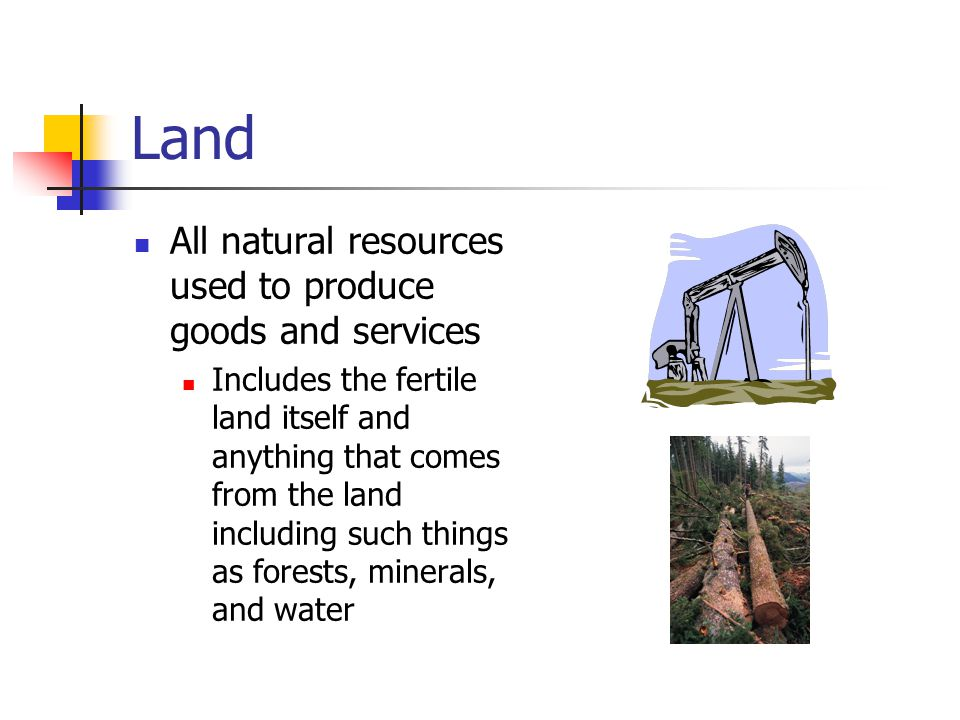 Land All natural resources used to produce goods and services