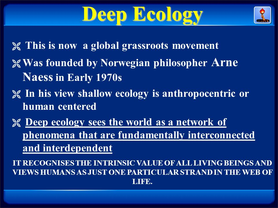 Deep Ecology This is now a global grassroots movement