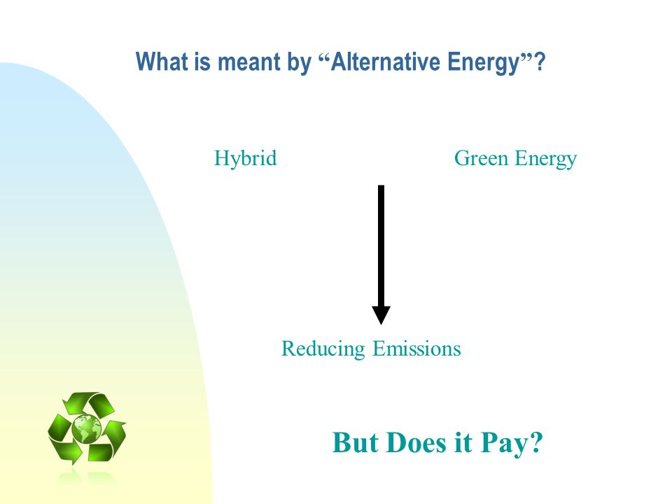 What is meant by Alternative Energy