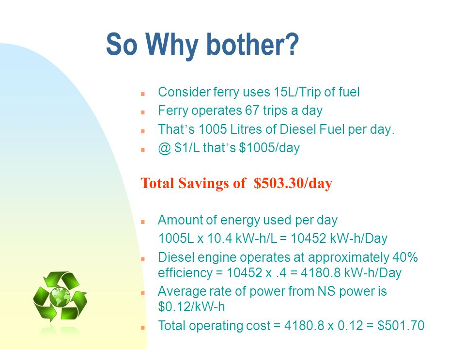 So Why bother Total Savings of $503.30/day