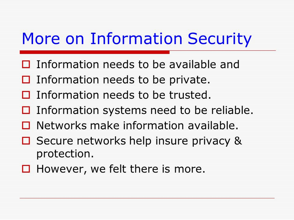 More on Information Security
