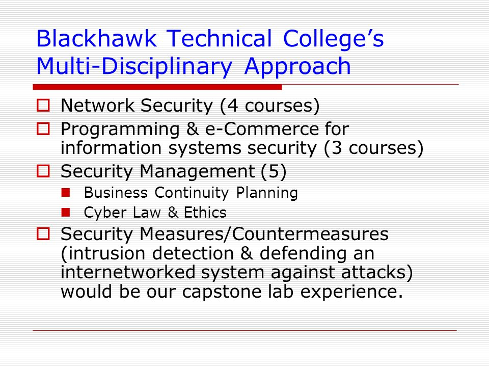 Blackhawk Technical College's Multi-Disciplinary Approach
