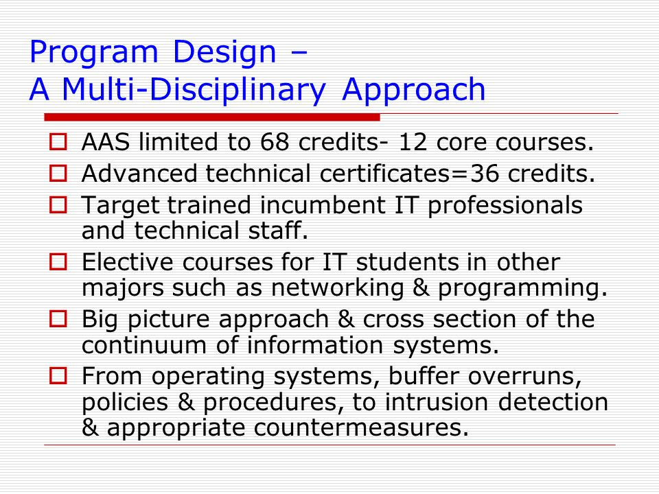 Program Design – A Multi-Disciplinary Approach