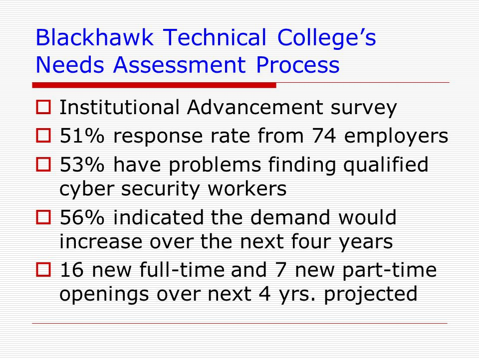 Blackhawk Technical College's Needs Assessment Process