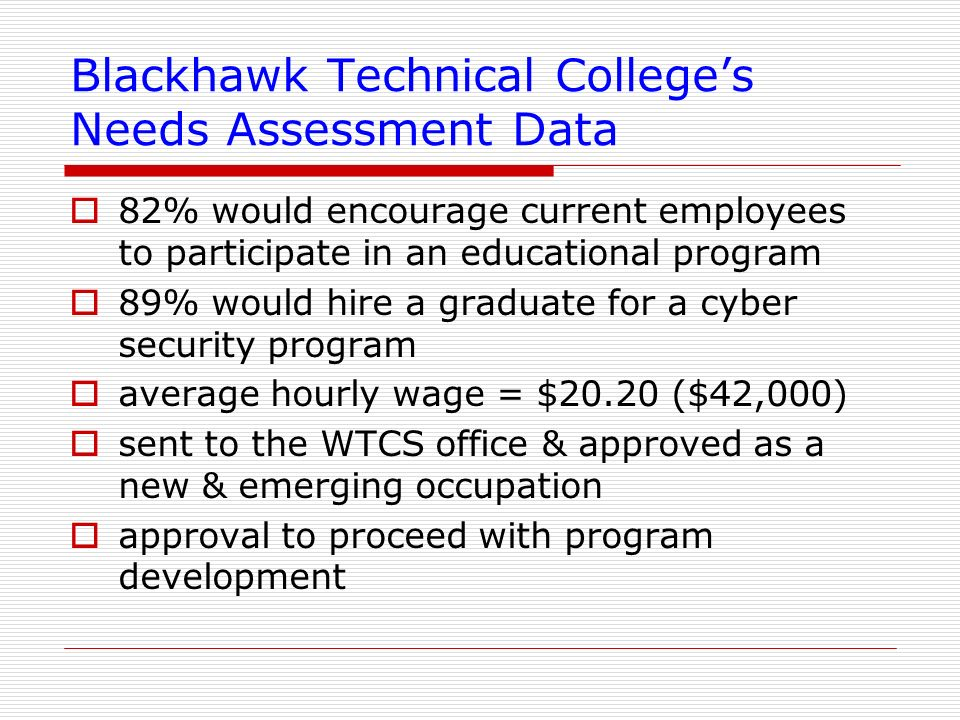 Blackhawk Technical College's Needs Assessment Data