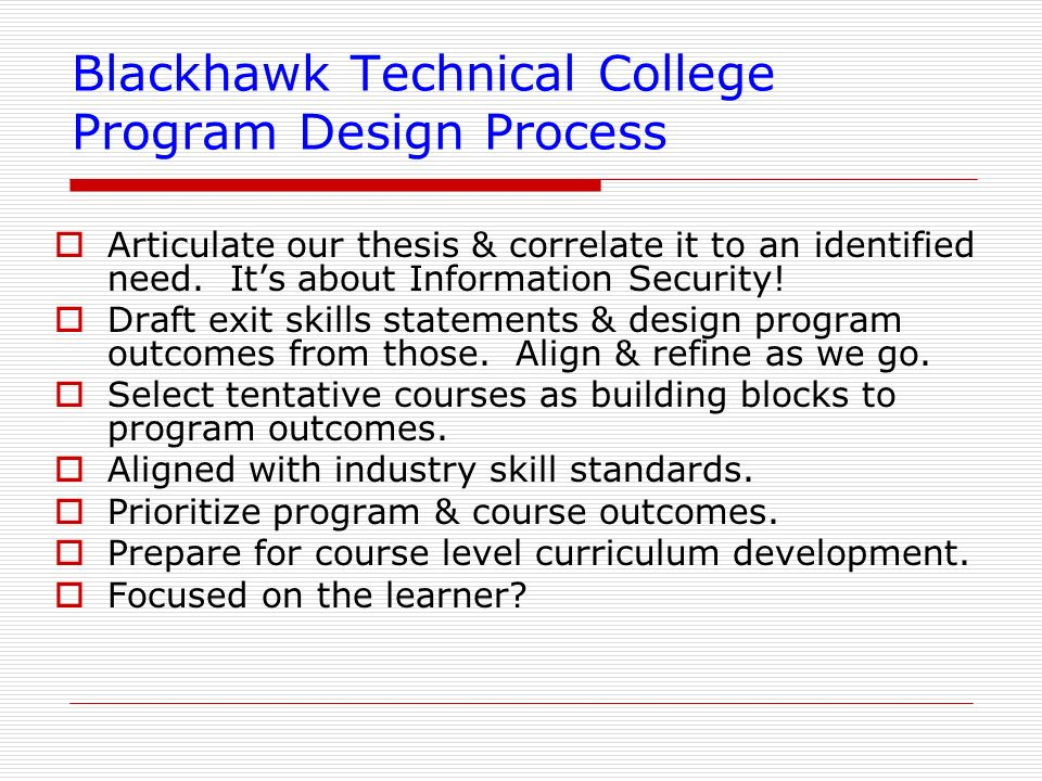 Blackhawk Technical College Program Design Process