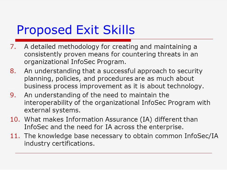 Proposed Exit Skills