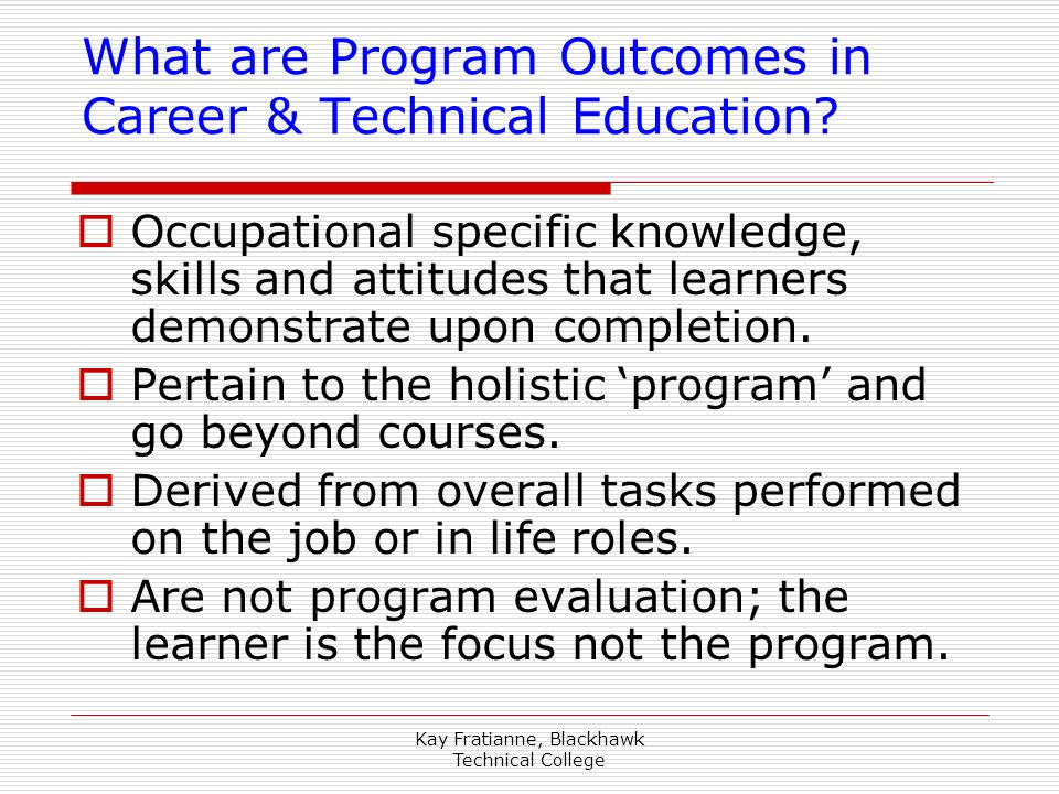 What are Program Outcomes in Career & Technical Education