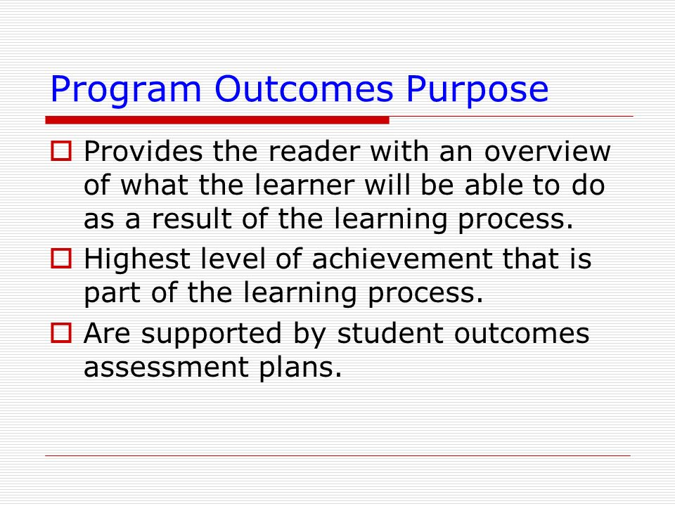 Program Outcomes Purpose