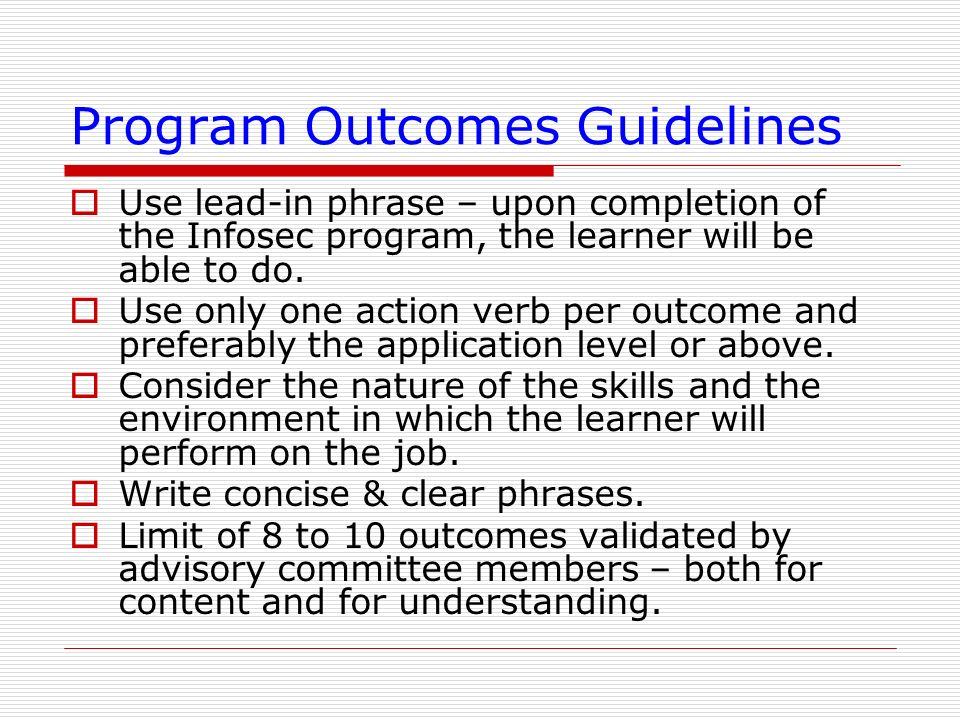 Program Outcomes Guidelines