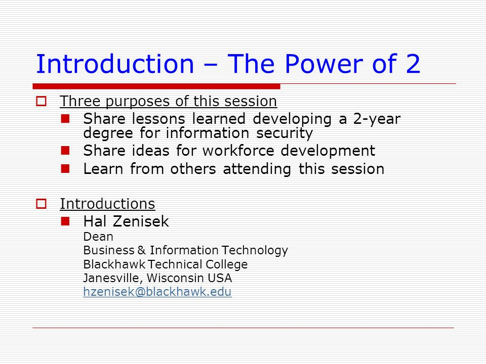 Introduction – The Power of 2