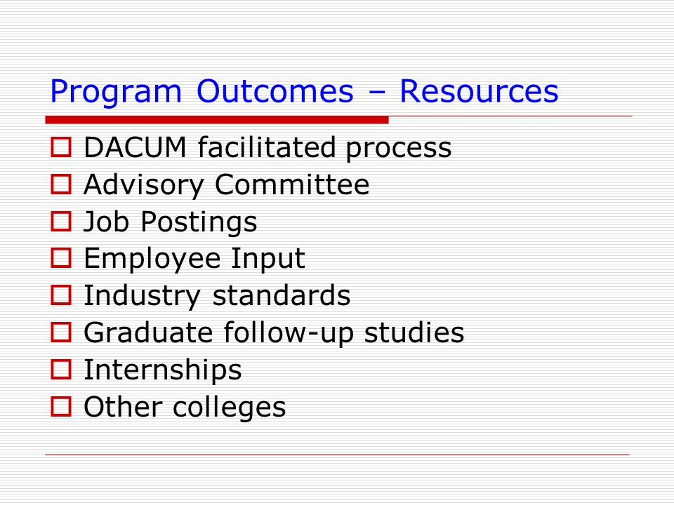 Program Outcomes – Resources