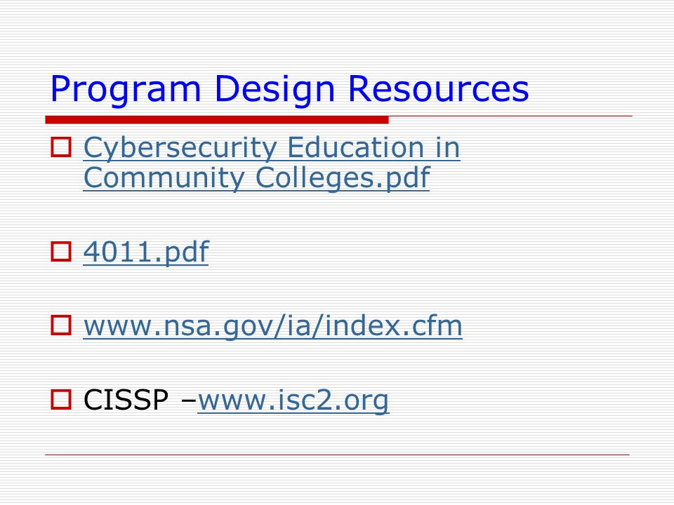 Program Design Resources