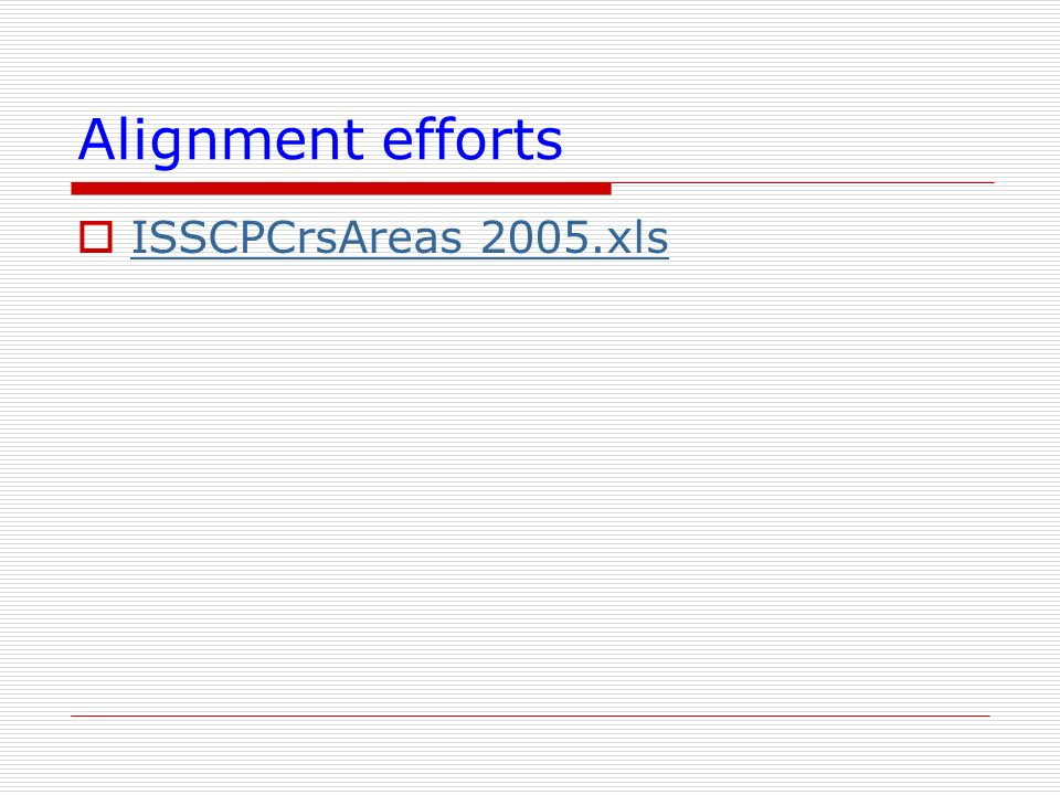 Alignment efforts ISSCPCrsAreas 2005.xls