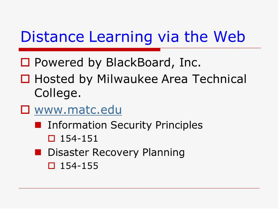 Distance Learning via the Web