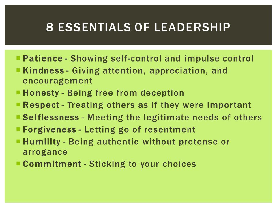 8 essentials of leadership