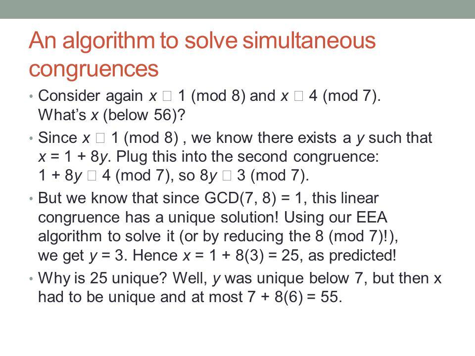An algorithm to solve simultaneous congruences