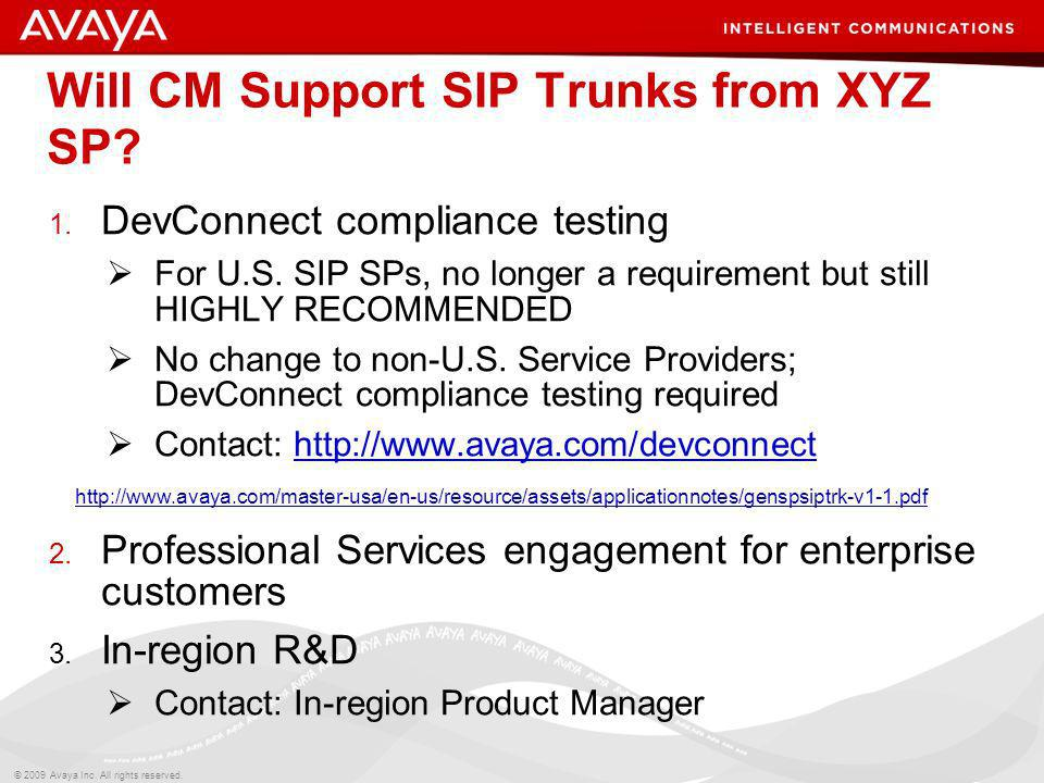 Will CM Support SIP Trunks from XYZ SP