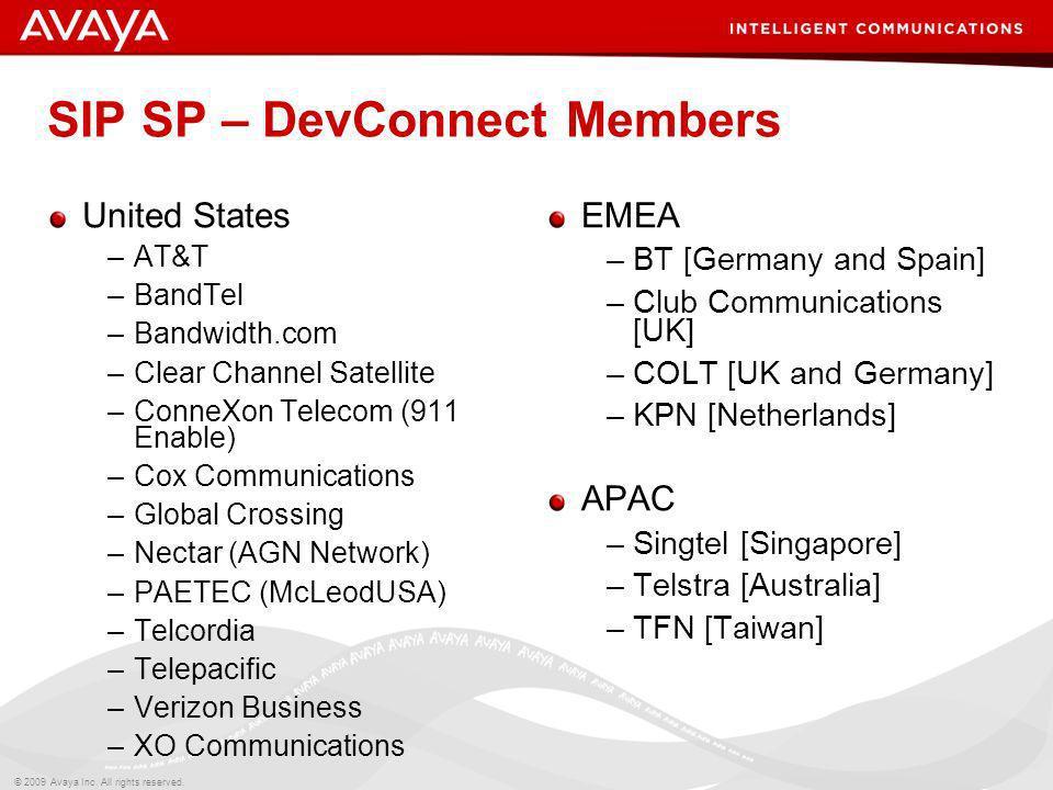 SIP SP – DevConnect Members