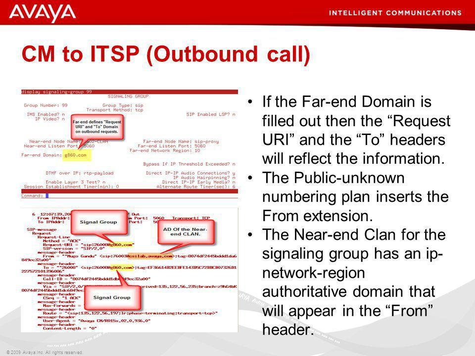 CM to ITSP (Outbound call)