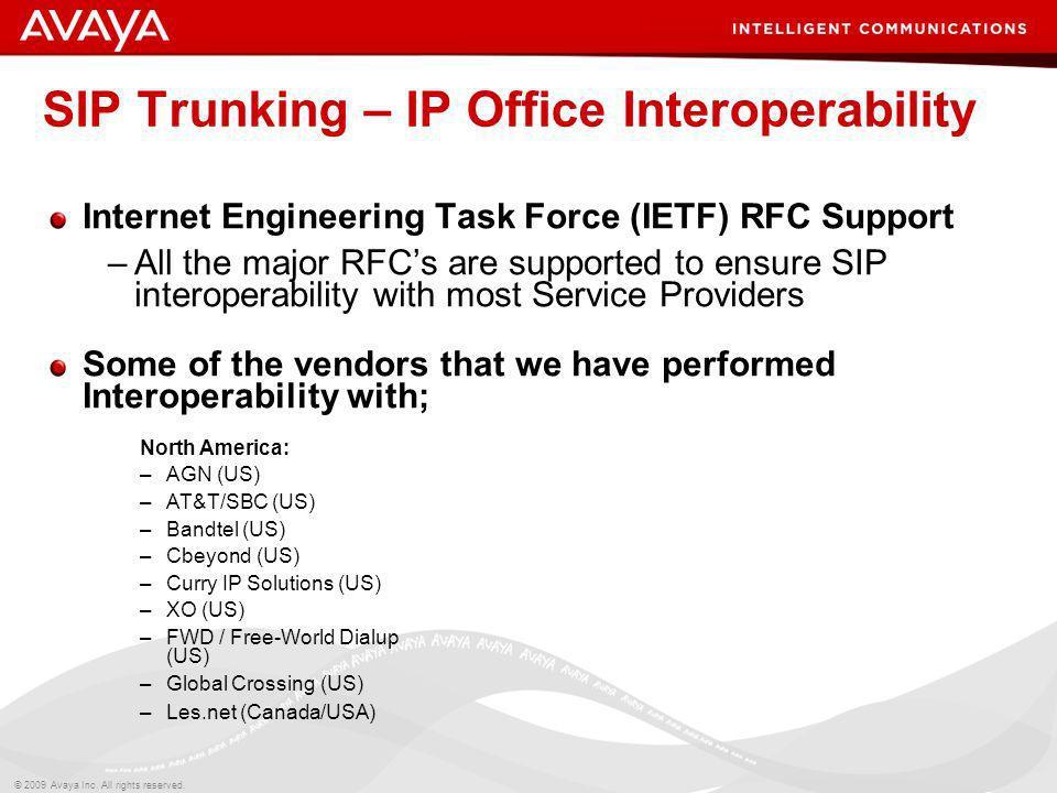 SIP Trunking – IP Office Interoperability