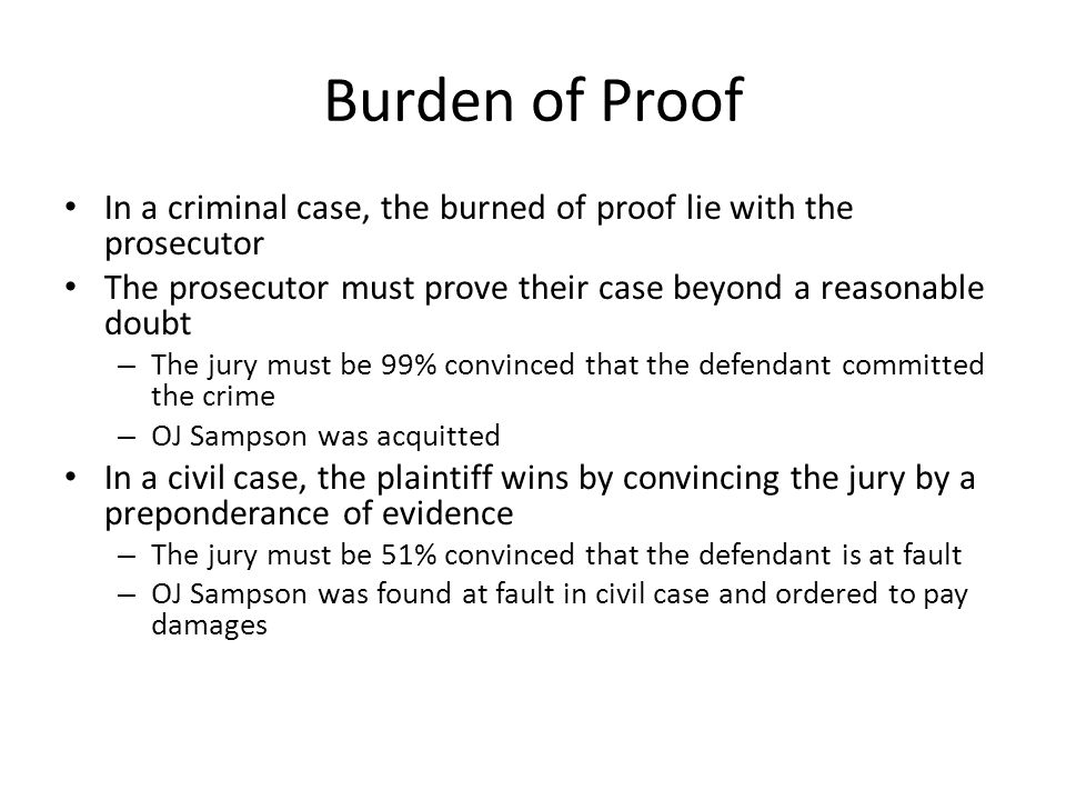 Burden of Proof In a criminal case, the burned of proof lie with the prosecutor. The prosecutor must prove their case beyond a reasonable doubt.