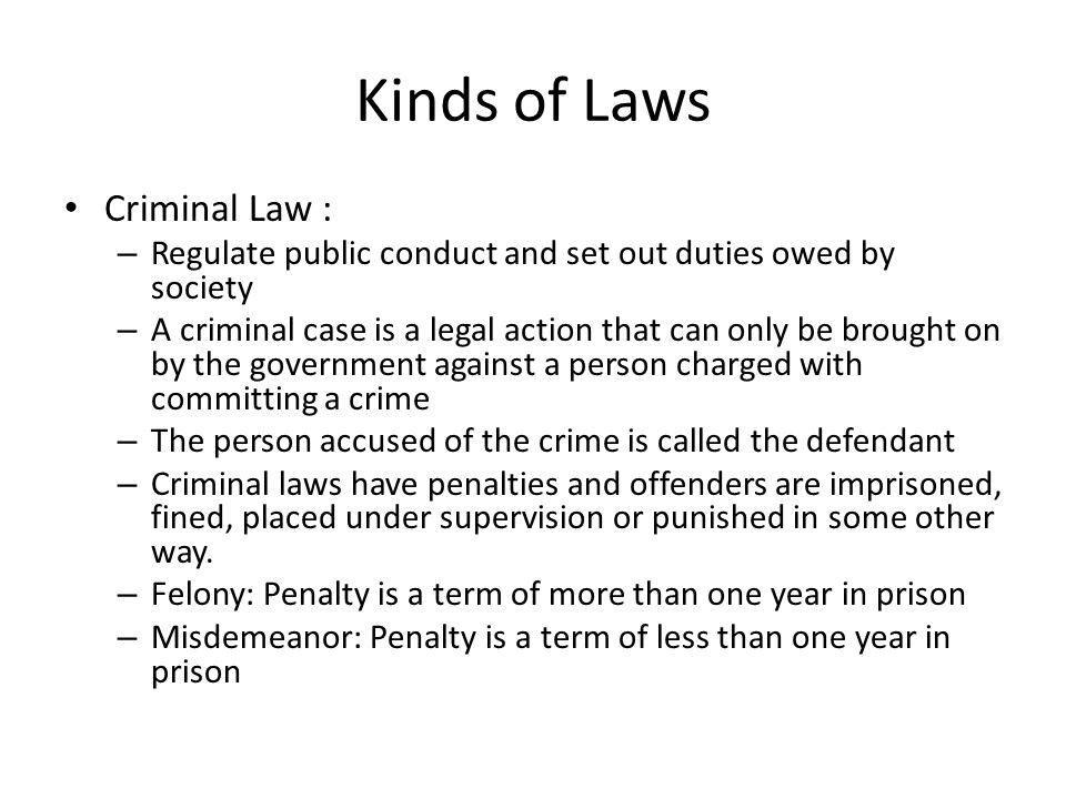 Kinds of Laws Criminal Law :