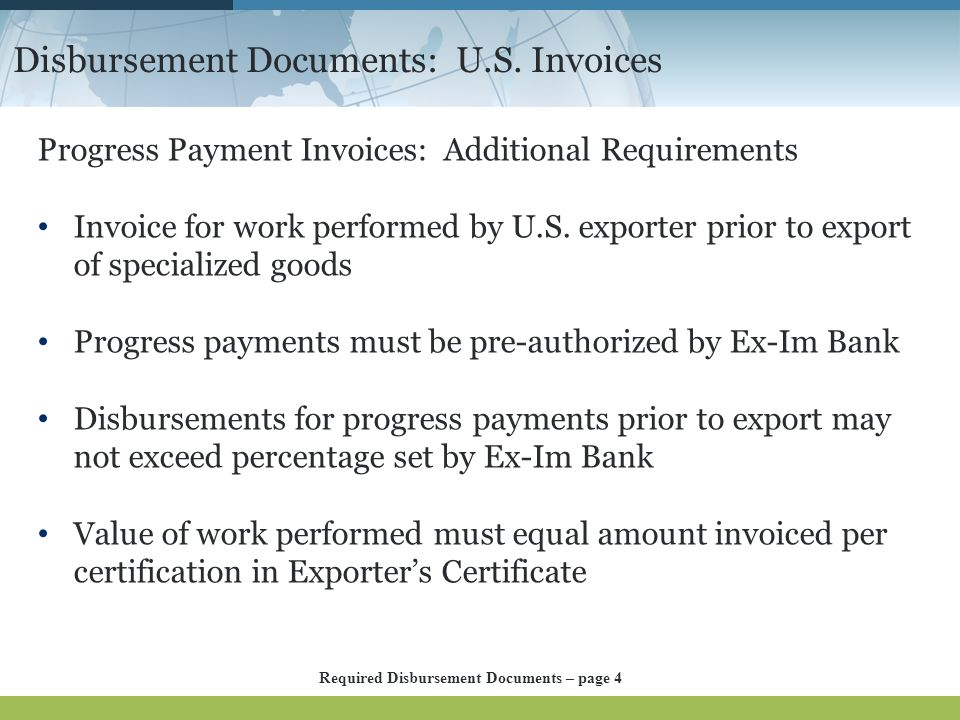 Disbursement Documents: U.S. Invoices