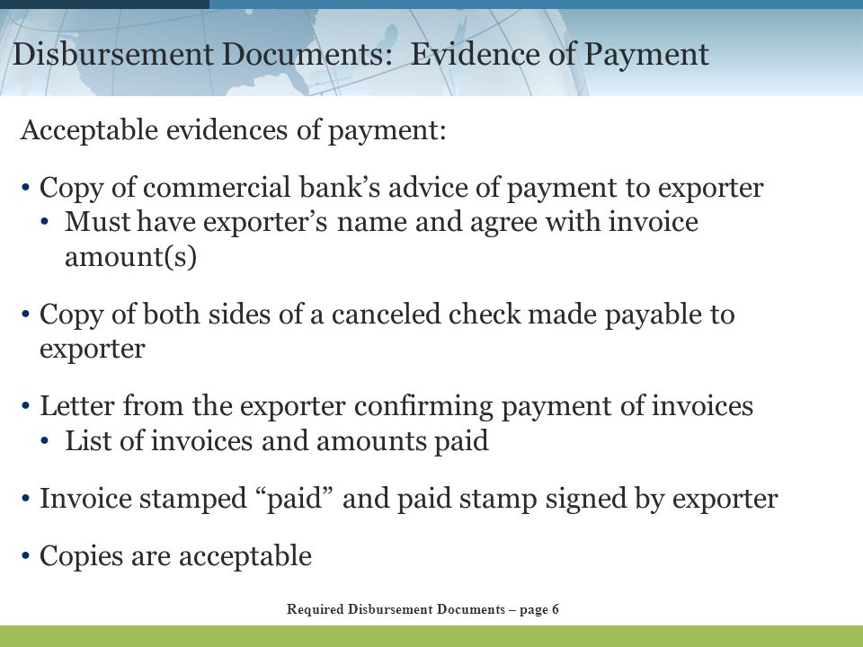 Disbursement Documents: Evidence of Payment