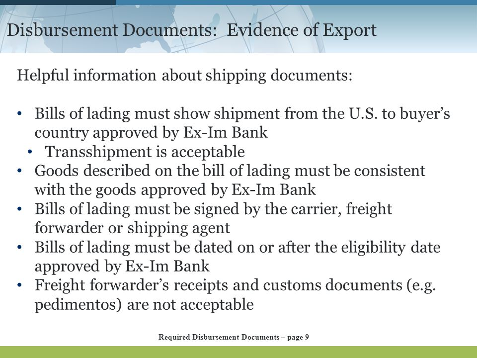 Disbursement Documents: Evidence of Export