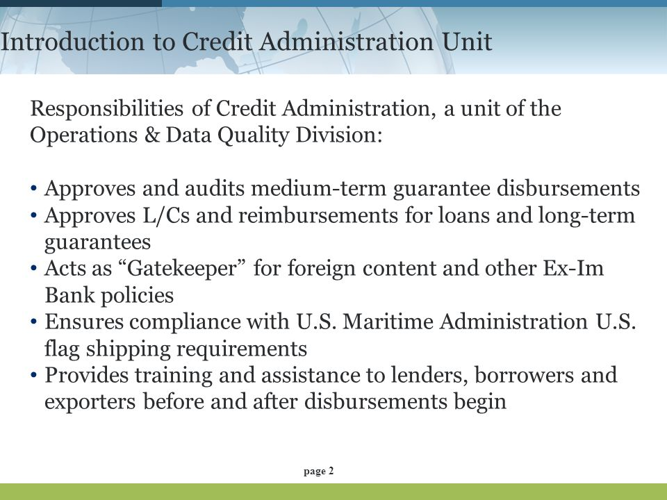 Introduction to Credit Administration Unit