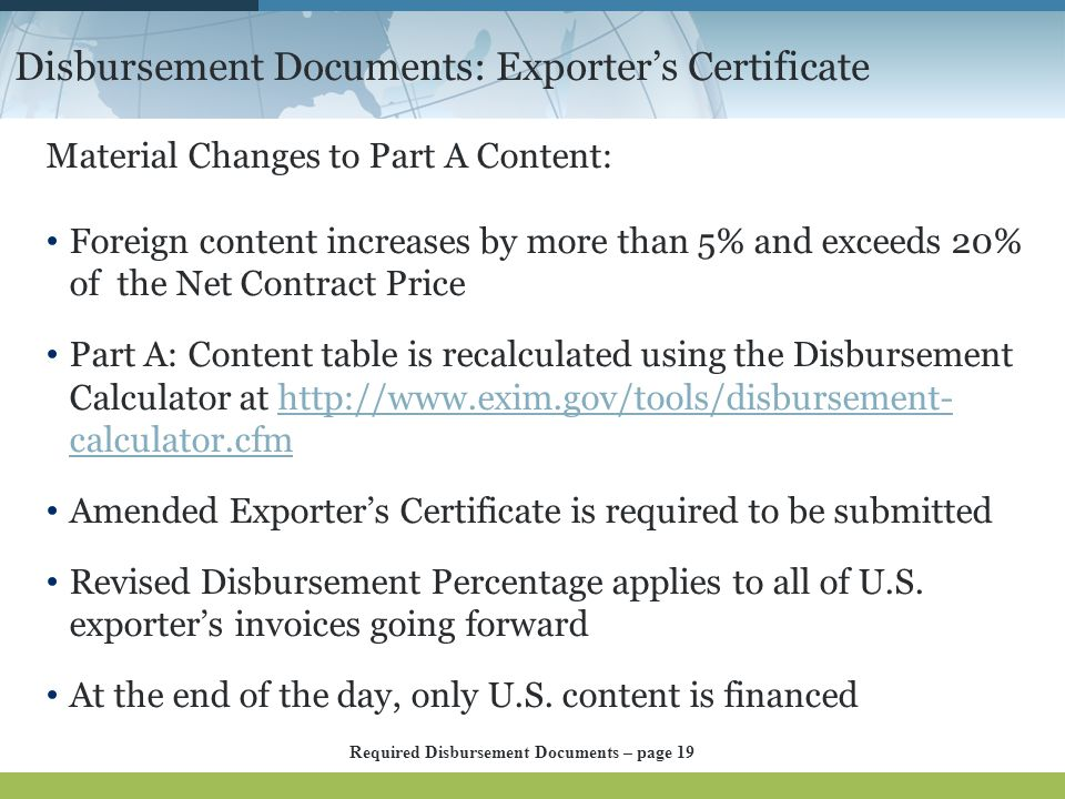 Disbursement Documents: Exporter's Certificate