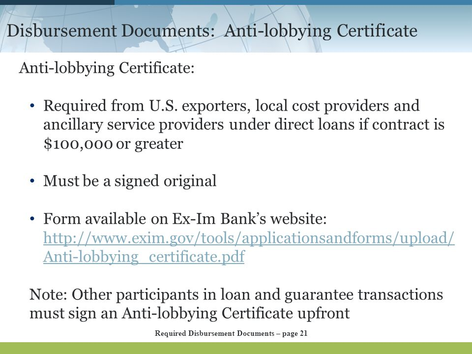 Disbursement Documents: Anti-lobbying Certificate