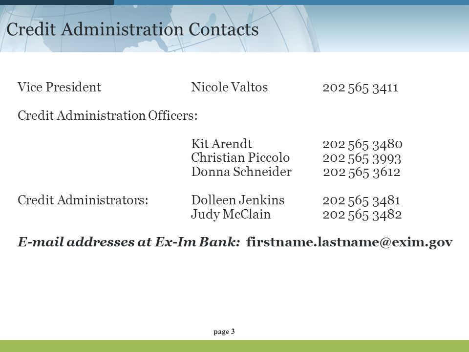 Credit Administration Contacts
