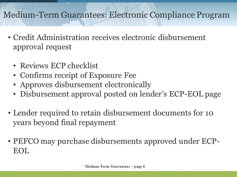 Medium-Term Guarantees: Electronic Compliance Program