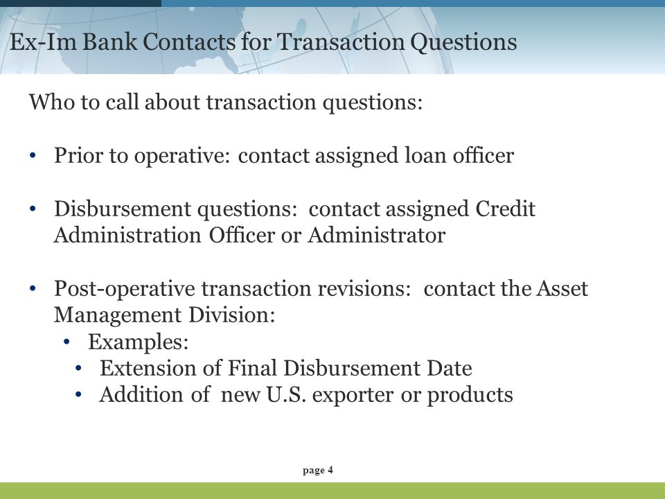 Ex-Im Bank Contacts for Transaction Questions