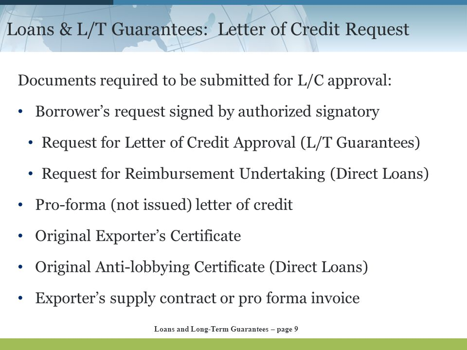 Loans & L/T Guarantees: Letter of Credit Request