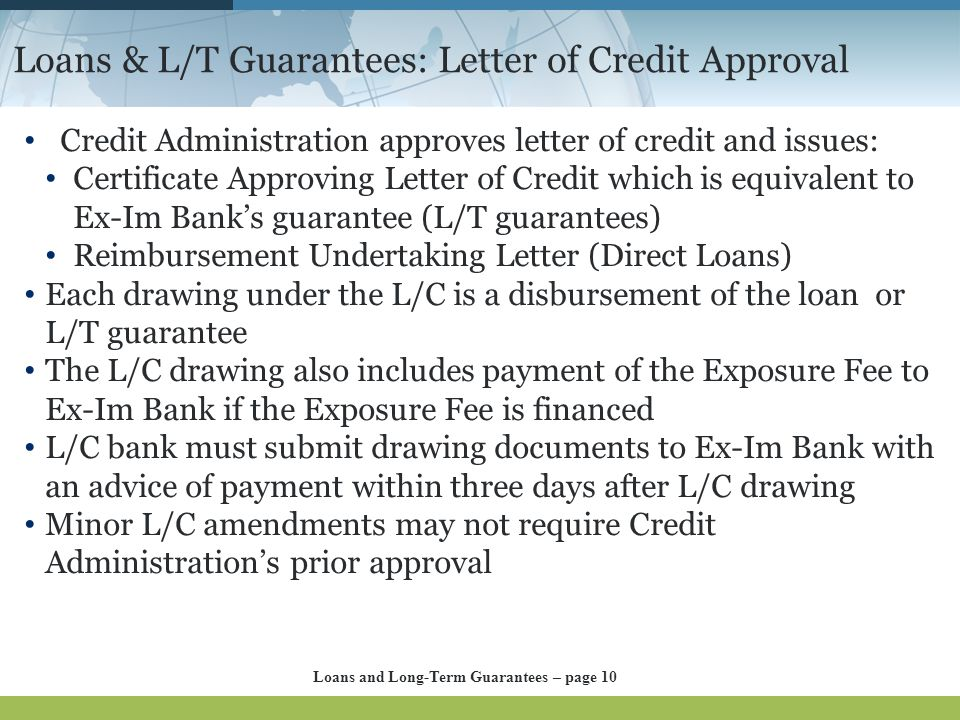 Loans & L/T Guarantees: Letter of Credit Approval