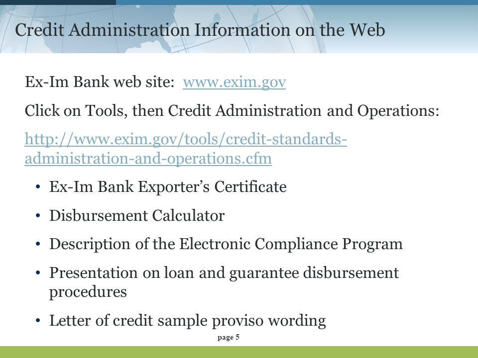 Credit Administration Information on the Web