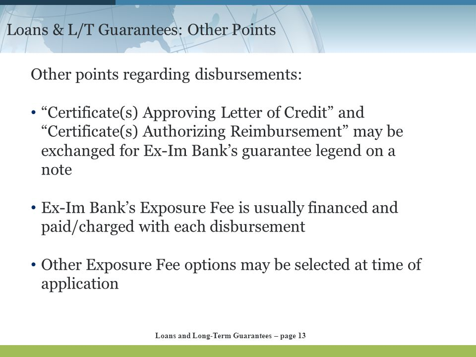 Loans & L/T Guarantees: Other Points