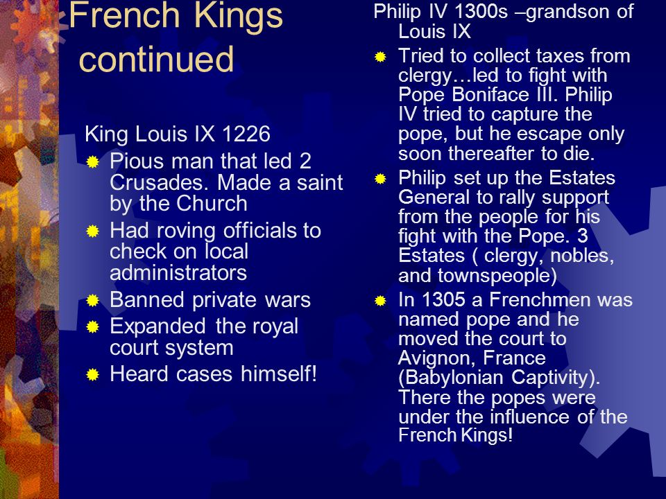French Kings continued