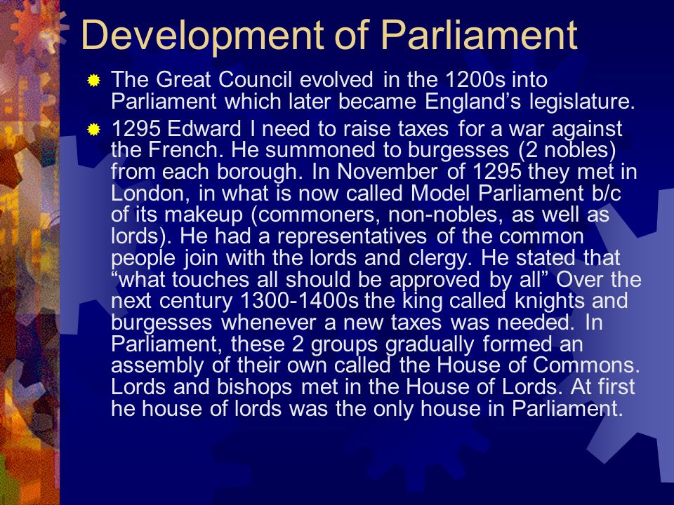 Development of Parliament
