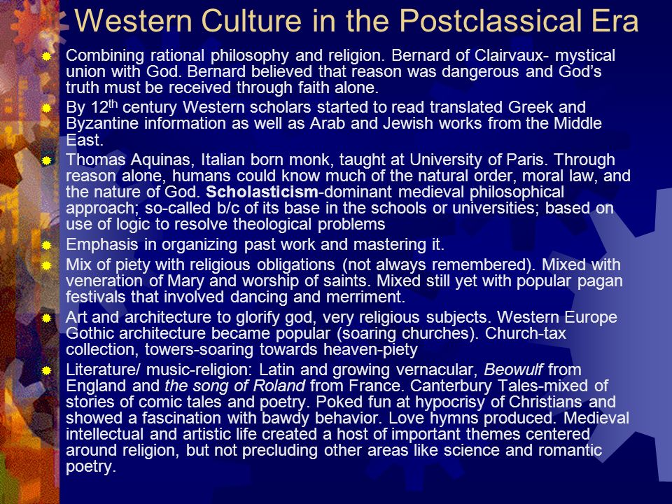 Western Culture in the Postclassical Era