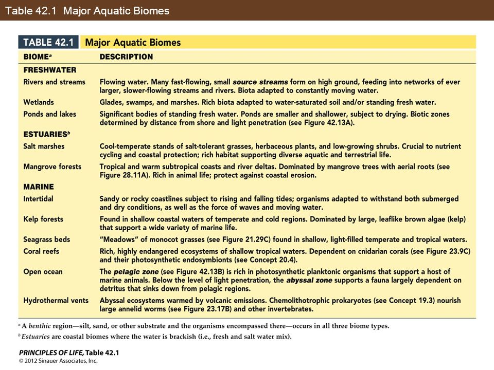 Table 42.1 Major Aquatic Biomes