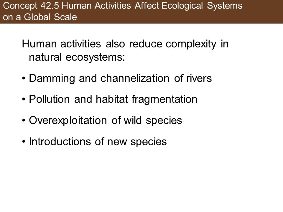 Human activities also reduce complexity in natural ecosystems: