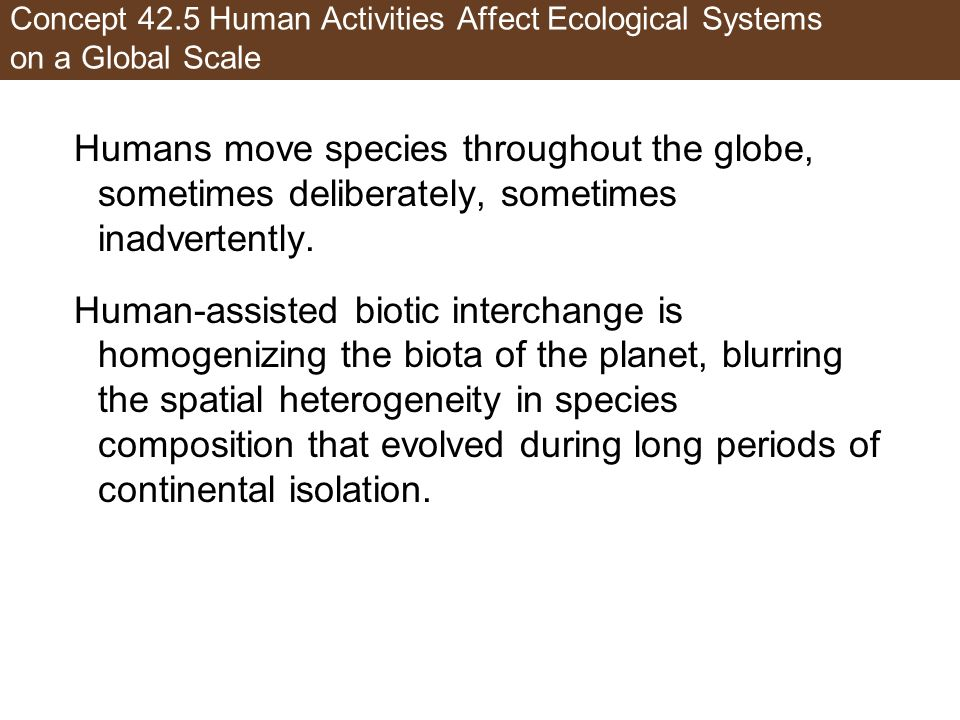 Concept 42.5 Human Activities Affect Ecological Systems on a Global Scale