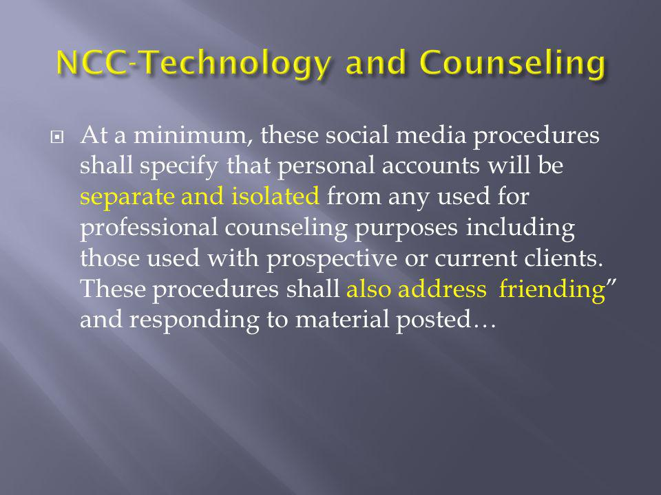 NCC-Technology and Counseling