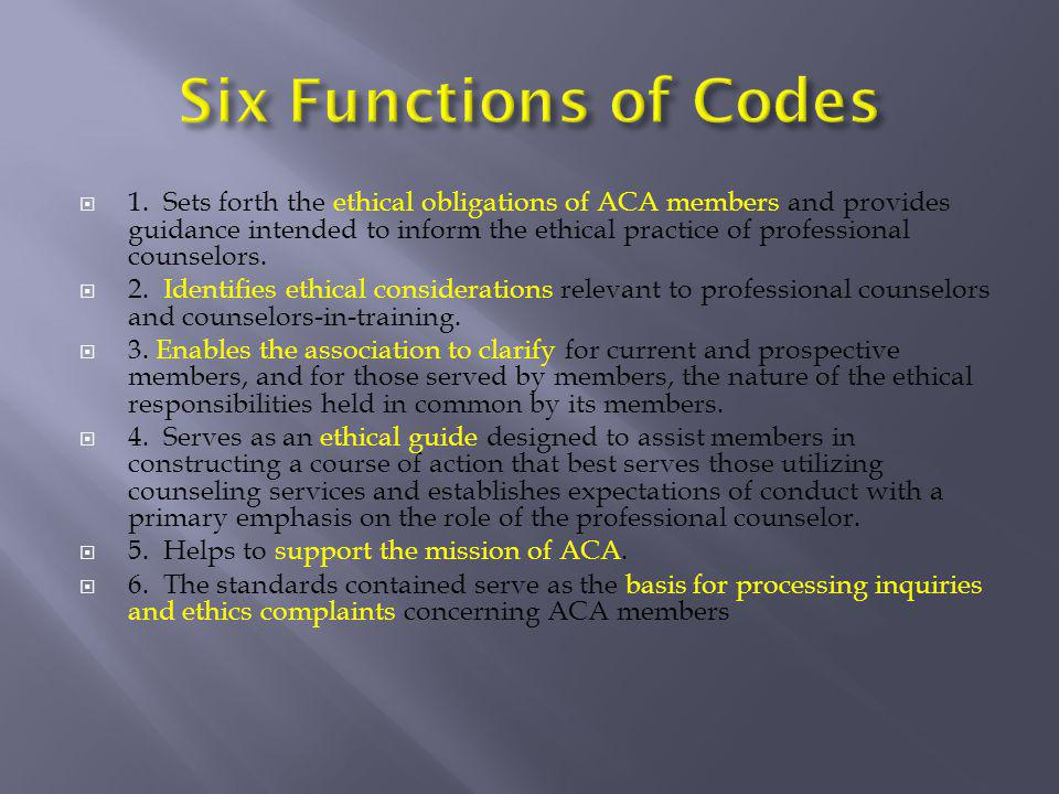 Six Functions of Codes