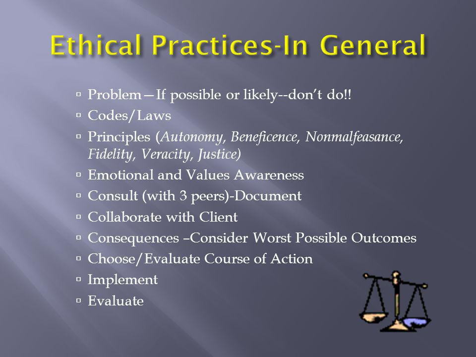 Ethical Practices-In General