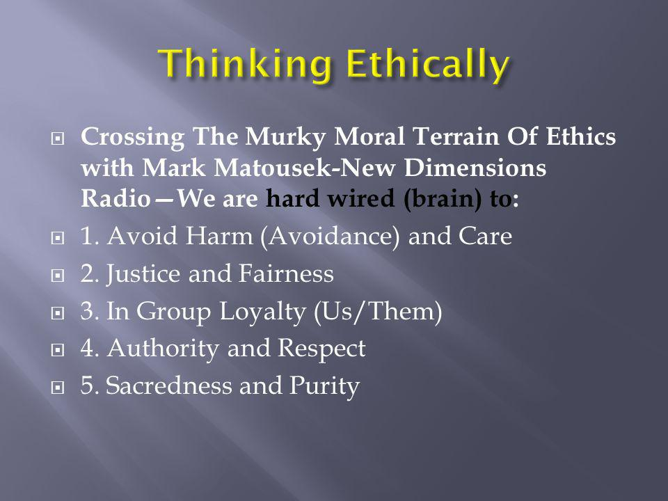 Thinking Ethically Crossing The Murky Moral Terrain Of Ethics with Mark Matousek-New Dimensions Radio—We are hard wired (brain) to: